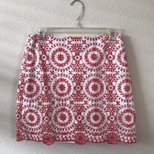 LOFT 0 Embroidered Orange Miniskirt